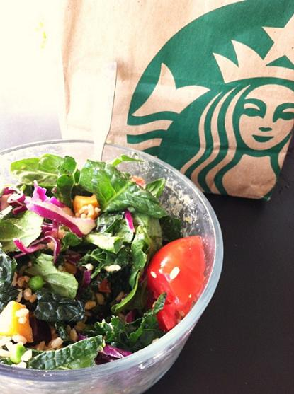 Starbucks salad in my own bowl. Bigger bowl means extra greens.