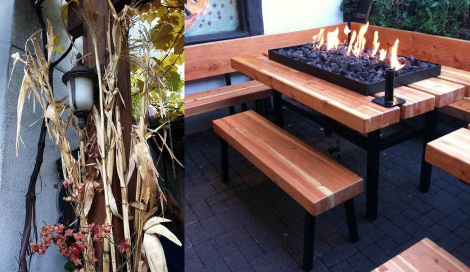 Fall decorations and FIRE tables at an outdoor beer and brat place.