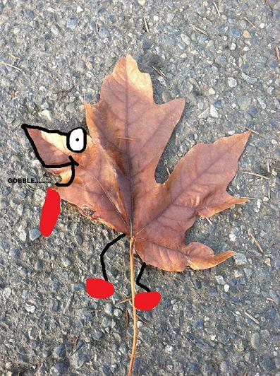 This is a leaf..made to look like a turkey...with running shoes. What I really do with my free time.