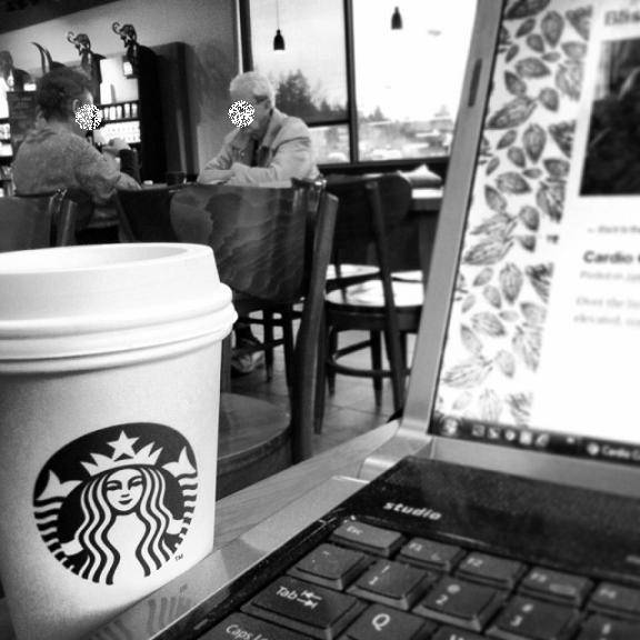 Coffee always comes first, because in order to put more food in..things must first come out. This photo is of a couple I see every morning I go to Starbucks to blog. They play scrabble with their tea and coffee. Faces blurred for privacy!
