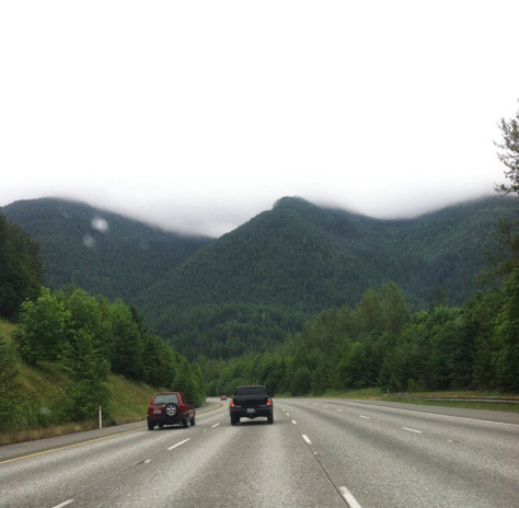 Driving to the mountain, thick cloud cover...no bueno.