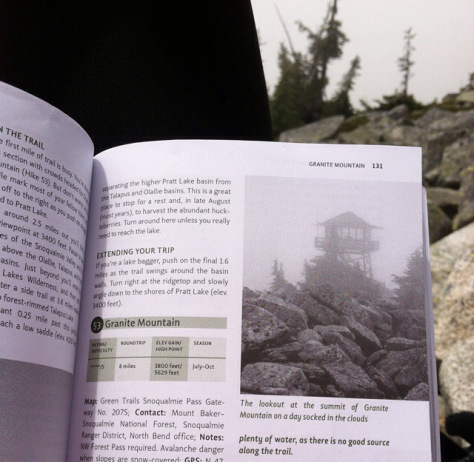I found it ironic that the photo in this hiking book looked exactly like the the foggy scene I was viewing in real life.