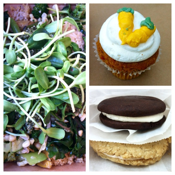 Grain and Veggie Mix, Carrot Cupcake, Chocolate Whoopie Pie (UNREAL), and a Coconut Oatmeal Chair Creme Sandwich.