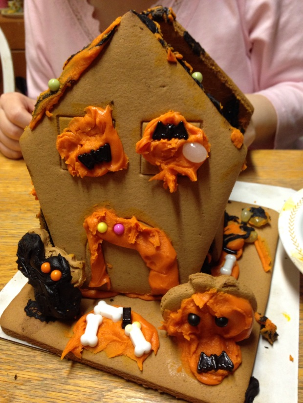 Building a sad looking haunted house.
